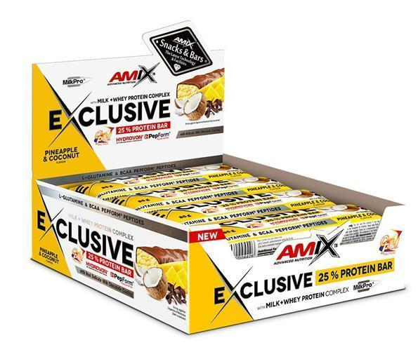 obrázek Amix Exclusive Protein bar 12 x 85 g - ananas a kokos AM-an-ko-box