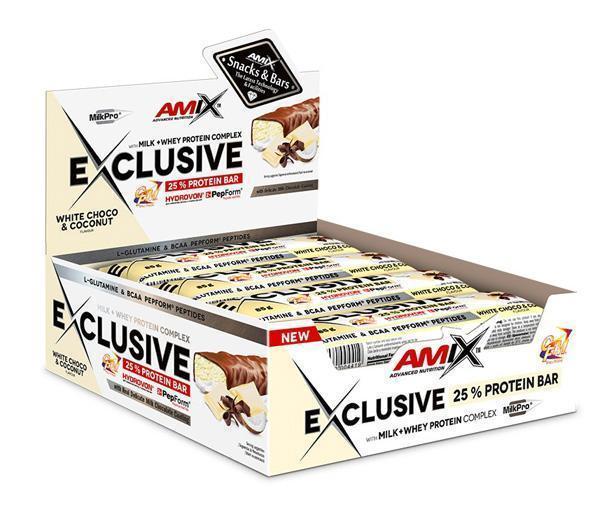 obrázek Amix Exclusive Protein bar 12 x 85 g - bílá čokoláda a kokos AM-bc-ko-box