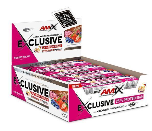 obrázek Amix Exclusive Protein bar 12 x 85 g - lesní ovoce AM-le-ov-box