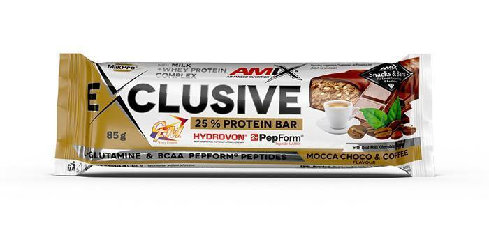 obrázek Amix Exclusive Protein bar 12 x 85 g - Mocca Choco Coffee AM-kav-box