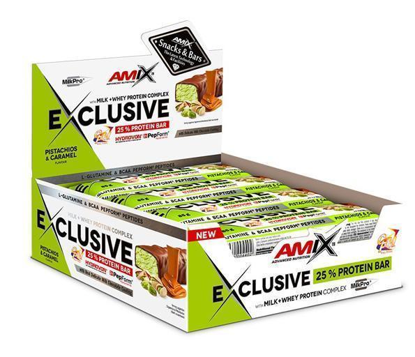 obrázek Amix Exclusive Protein bar 12 x 85 g - pistácie a karamel AM-pi-ka-box