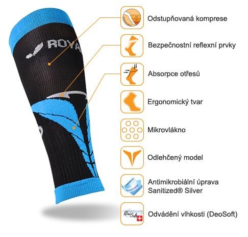 obrázek Kompresní lýtkové návleky ROYAL BAY® Air - černá/modrá N-air-9588